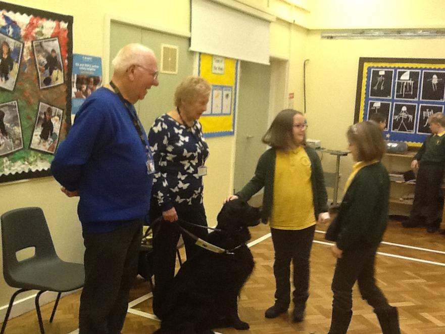 Children from Tetford School meeting Guide Dog Usher during their Diversity Day